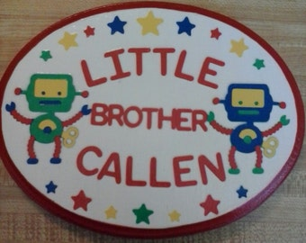 Robot Theme Oval Wooden Name Plaque