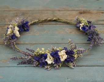 Provence Dried Flower Hair Crown