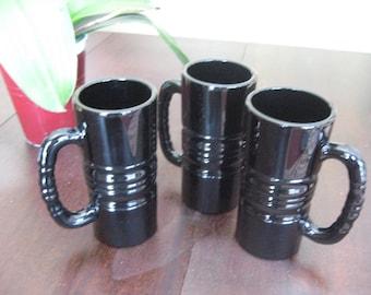 Vintage Black Amethyst Glass Tiara Mugs (1970's)