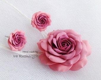 Pink Flower, Rose set, Jewelry handmade