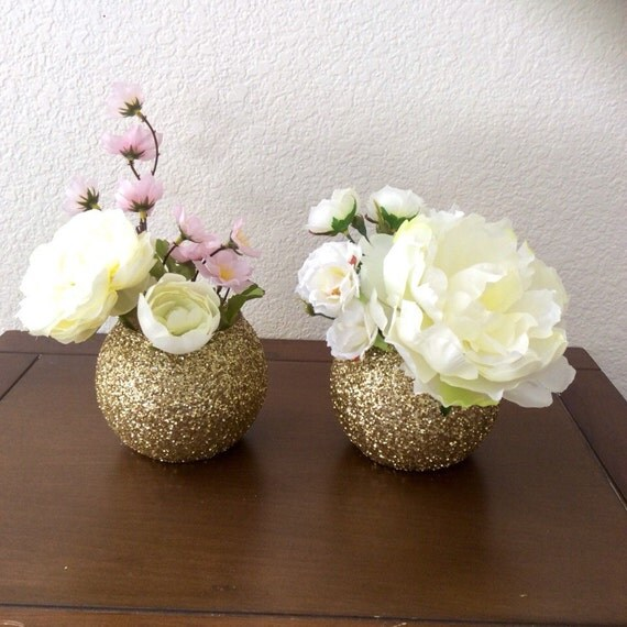 Items similar to gold glitter bubble vases set of