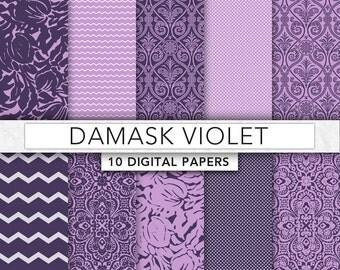 Violet digital Paper,Violet Damask paper, Violet paper, damask patterns,instant download- DAM009
