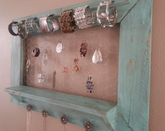 Pallet jewelry holder / jewelry display /rustic jewelry organizer in distressed turquoise, one of a kind