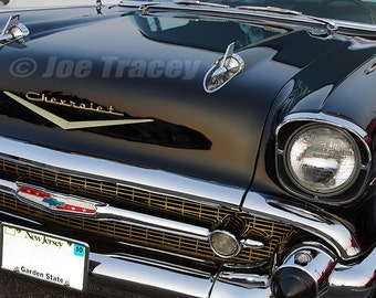1957 Black Chevrolet, Classic Cars, Automotive Decor, Automobile Photography, Wall Art, Old Cars, Car Pictures, Car Art, Chevy, Chevrolet
