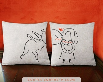 Cute Couple Pillow Covers : Items similar to decorative pillow cover, pillow cover, his and hers pillow cases, couple pillow ...