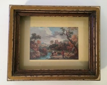 Vintage Wooden Framed Print, Distressed Framed Print, Watering down by the River Print