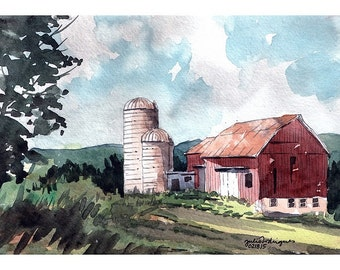 Original Watercolor, Red Barn