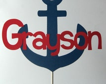 Nautical Cake Topper - Personalized/ Navy