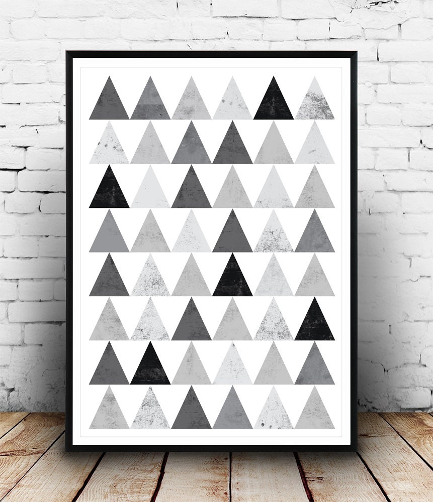 Geometric Design Wall Art : Geometric art print wall decor triangle pattern modern