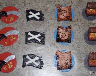 Pirate Sword & Flag, Treasure Map, Treasure Chest Fondant Cupcake Toppers