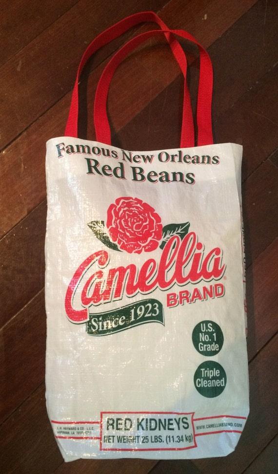Camellia red bean tote bag unique new orleans louisiana item
