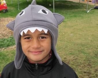 Child's Shark Fleece Hat with Ear Flaps
