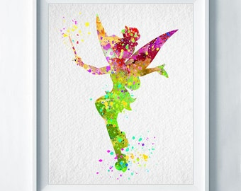 Tinker Bell Art Print Print Nursery Art Colorful Disney Home Decor Wall Art Watercolor Baby Shower