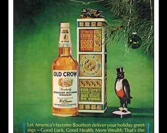 "Vintage Print Ad January 1966 : Old Crow Kentucky Straight Bourbon Whiskey Christmas Wall Art Decor 8.5"" x 11"" Advertisement"