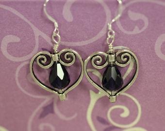 Tibetan Silver Heart with Dark Purple Drop Bead Dangle Earrings (S-150010)