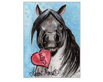 Black Pony Valentines Day llmartin Original ACEO  Watercolor Free Shipping USA