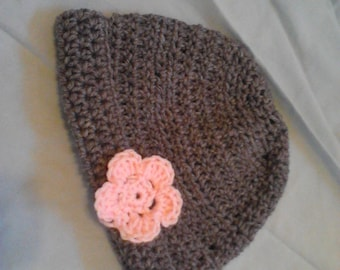 Gray and Pink 24 mos Pink Flower Hat!