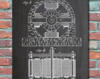 First computer patent 1889 patent art patent print tesla electric motor 1888 wall art print patent art blueprint patent poster malvernweather Choice Image