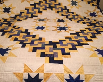 King Size, Hand Quilted, Blue Yellow and White Quilt