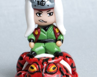 "Chibi Jiraya on Frog. Anime ""Naruto"" inspired handmade polymer clay figurine."