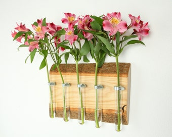 Wall mounted TT Vase - handcrafted solid wood and test tube vase