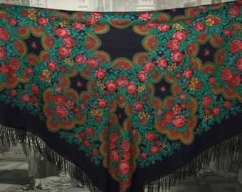 Vintage Russian Pavlovo Posad Black Wool Large Shawl/ Babushka Scarf/Amazing Russian Shawl with Fringe/Floral Rose Folk Scarf with Tassels