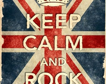 KCV14 Vintage Style Union Jack Keep Calm Rock On Poster Re-Print Wall Decor A2/A3/A4