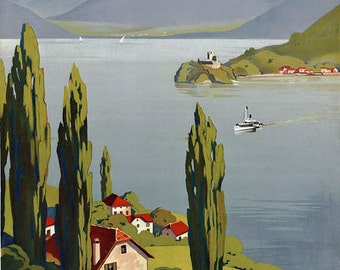 TT46 Vintage Lake Annecy French France Travel Tourism Poster Re-Print Wall Decor A3/A4