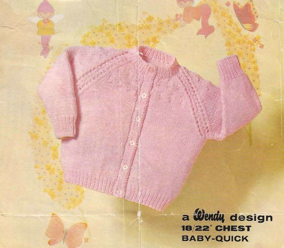 Knit Baby Cardigan sweater Vintage Pattern raglan sleeve
