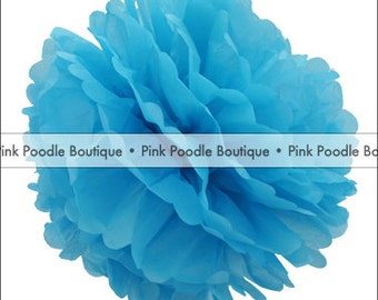 "4"" (10 cm) Turquoise Blue Tissue PAPER POM POM Flower -- pif . pay it forward . aok . act of kindness . free . clearance sale"