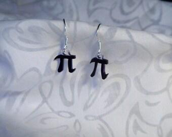 "Pi earrings, 100% recycled plastic ""shrinky dink"""