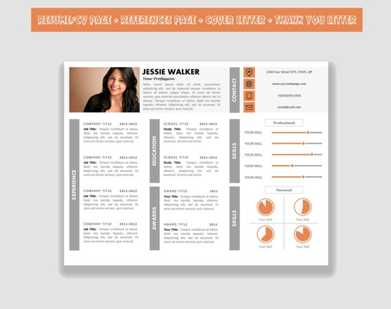 items similar to horizontal resume template cv template pack for microsoft word  including cover