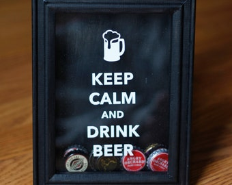 Keep Calm and Drink Beer shadow box