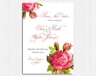 Save the date, Vintage flower, printable save the date, digital save the date, flower save the date, roses save the date, shabby chic, Elise