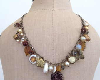 Chocolate brown vintage charm necklace with glass pearls