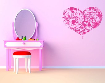 Wall Vinyl Sticker Decals Mural Room Design Heart  Love Romantic bo011