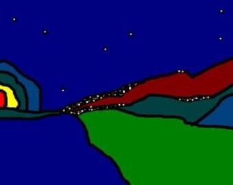 Original Digital Expressionism, Original Instant Art 300dpi, Digital Impreesionism Landscape, Nightscape Original Art by Simon Bramble