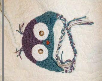Made to order crocheted Owl hat.  Sizes range from 3 months to toddler.