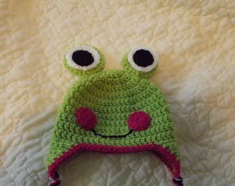 Hand made, crocheted, frog hat and booties.  Size 6-9 months old