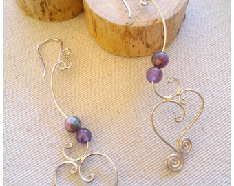 Silver earrings with semi-precious stones