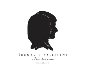 Commemorative Marriage Silhouette Portraits, unframed - Overlap