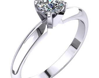Diamond Engagement Ring Solid 14K White Gold Solitaire 0.50 Carats F VS2