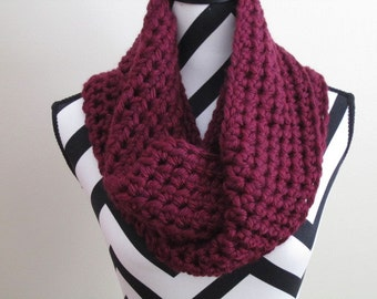 Crocheted Burgundy Infinity Scarf. Soft texture make it warm and cozy!