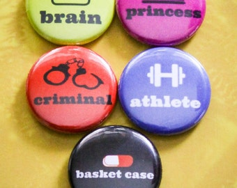 "Breakfast Club (Labels) Set of 5 - 1"" Pinback Buttons"