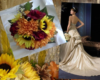 Fall wedding set  made of Sunflowers ,asters and roses bouquet yellow orange and red 17 pc