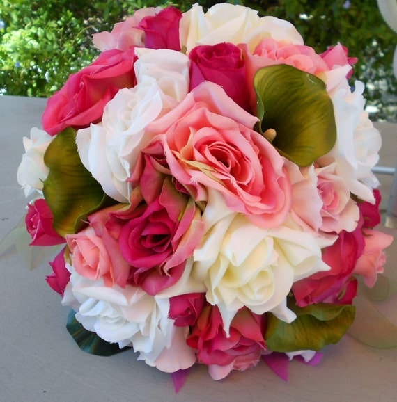 Silk Bride wedding bridal bouquet Roses and Callas Bridal  2 PC green, ivory, pink