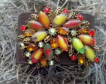 Color Harvest Leather Cuff.  Bold Color & Rhinestones.