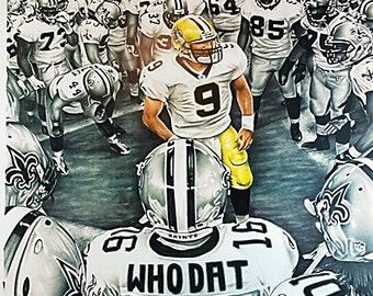 Drew Brees New Orleans Saints Huddle