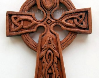 Celtic cross with wolf Wood carving, Handmade Woodcarving, 3,9 x 2,7 in.
