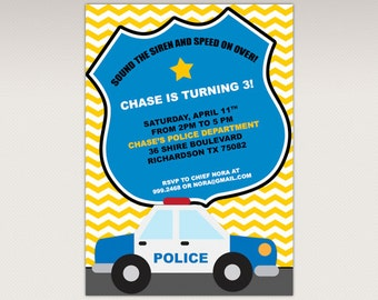 Police Birthday Party printable invitation - Cops and Robbers Birthday Party Invitation #358